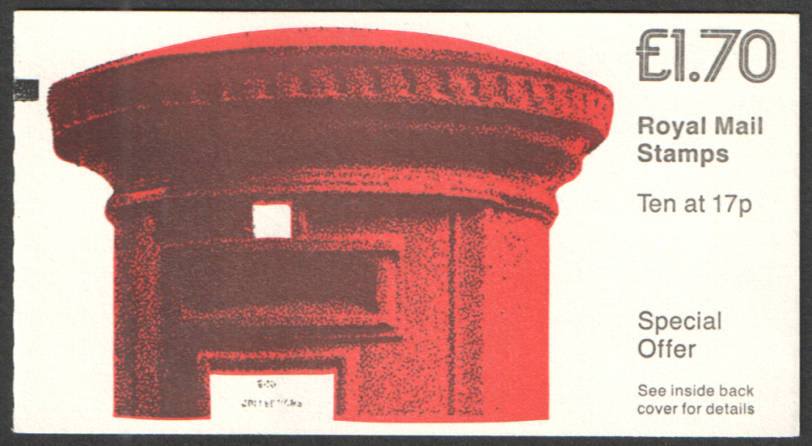 FT5A / DB8(29) + BMB Cyl B18 £1.70 Pillar Box Left Margin Folded Booklet. Mark on back cover.