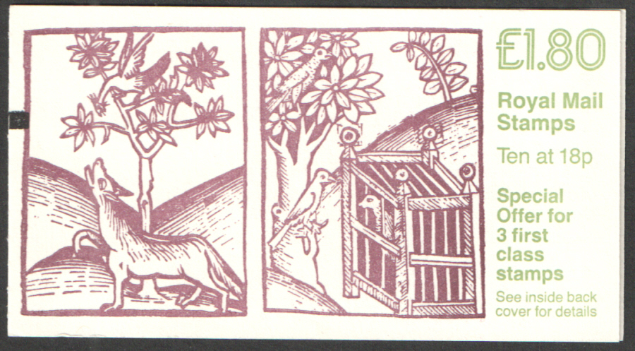FU6B / DB8(37)A + BMB Cyl B2 £1.80 Wolf & Birds Right Margin Folded Booklet. Trimmed at top.