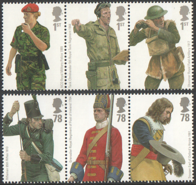 SG2774 / 79 2007 British Army Uniforms unmounted mint set of 6