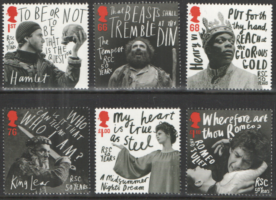 SG3173 / 78 2011 Royal Shakespeare Company unmounted mint set of 6