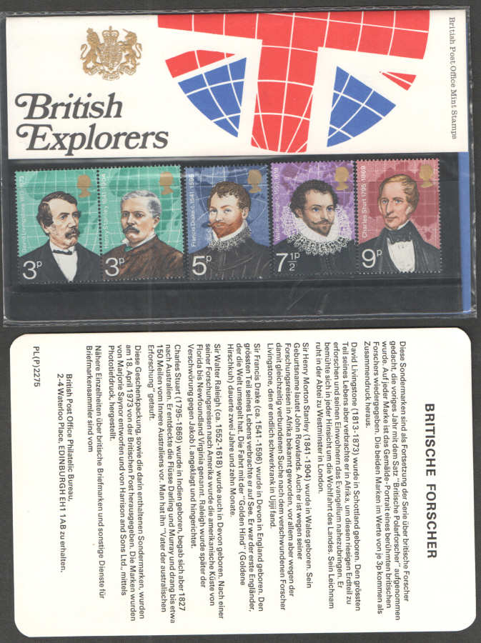1973 German Insert - British Explorers Royal Mail Presentation Pack 50