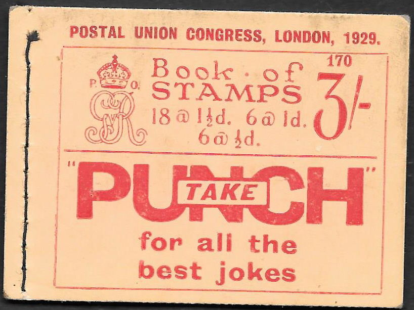 BB25 George V 1929 PUC 3/- Stitched Booklet Edition 170