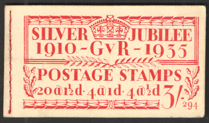 BB28 George V 1935 Silver Jubilee 3/- Edition 294 Stitched Booklet. Some faults.