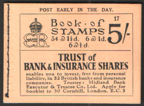 BC4 March 1937 Edward VIII 5/- Stitched Booklet Edition 17