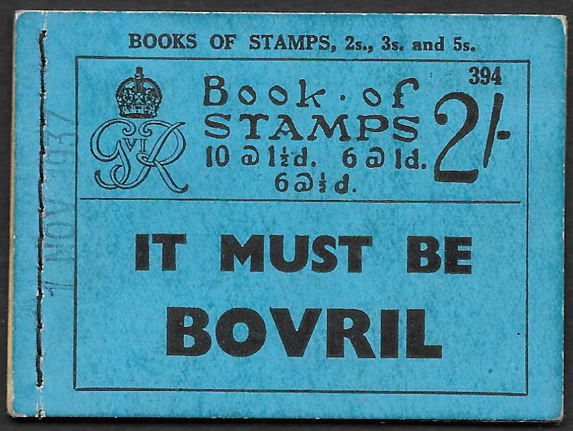 BD11 AVC Cancelled Type 33P George VI 1937 2/- Stitched Booklet Edition 394.