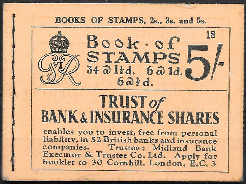 BD23 George VI 1937 5/- Stitched Booklet Edition 18.