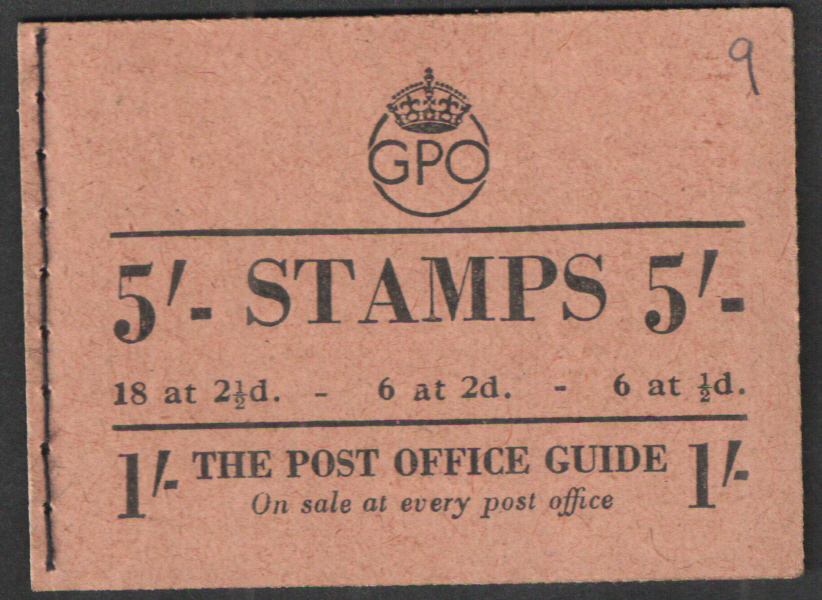 BD28(48) Oct 1950 George VI 5/- Stitched Booklet. Pen mark on cover.