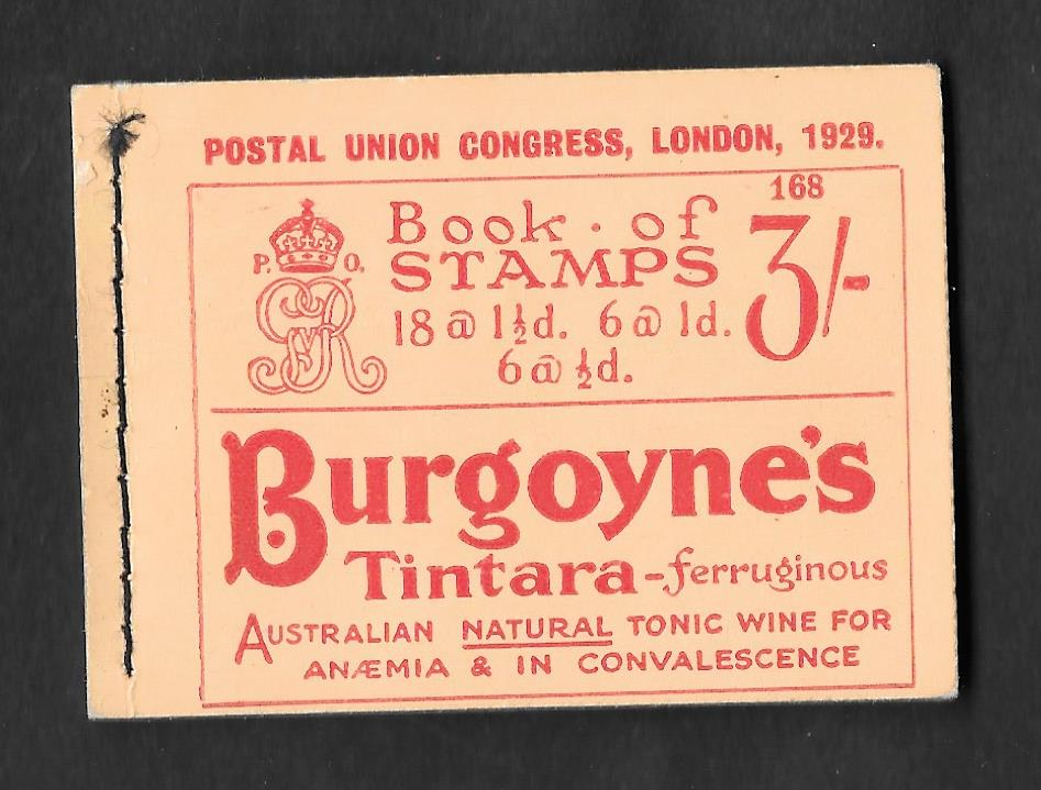 BB25 George V 1929 PUC 3/- Stitched Booklet Edition 168