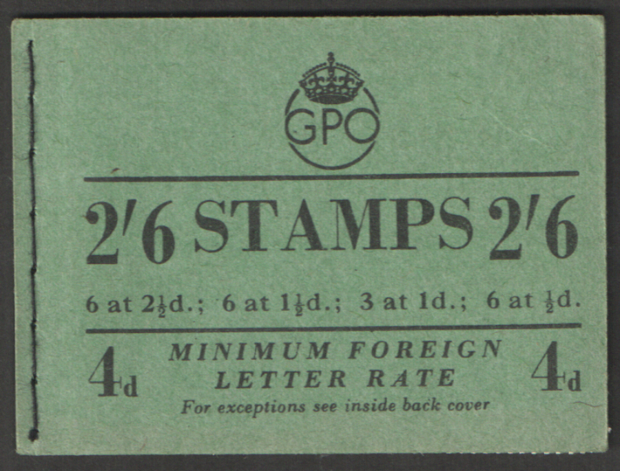 F4 August 1953 Elizabeth II Wilding 2/6 Stitched Booklet