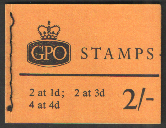 N25 July 1966 1d at left Elizabeth II 2/- Stitched Booklet