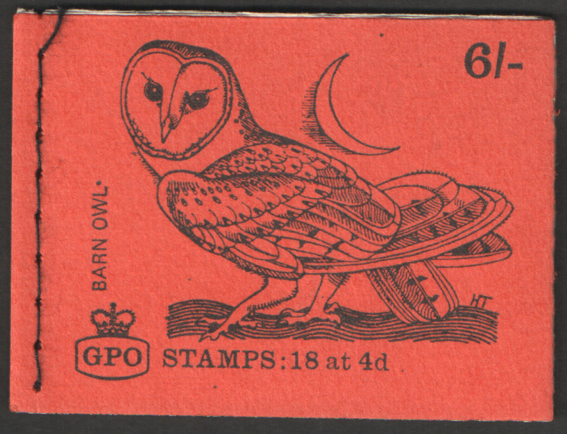 QP46 Pane 1 Gum Arabic February 1969 Barn Owl 6/- Stitched Booklet