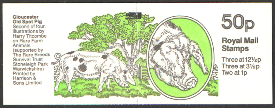 FB24 / DB9(24) + BMB Perf E1 Gloucester Old Spot Pig 50p Folded Booklet