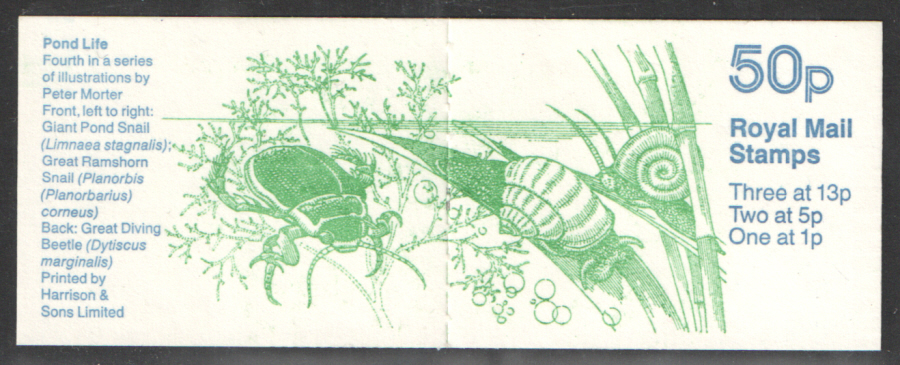 FB36 / DB14(3) Cyl B1 B27 B32 (-) Pond Life No.4 50p Folded Booklet