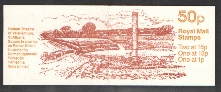 FB37 / DB9(34)/1 Reversed Bands Cyl B21 B4 B30 (B69) Roman Theatre 50p Folded Booklet