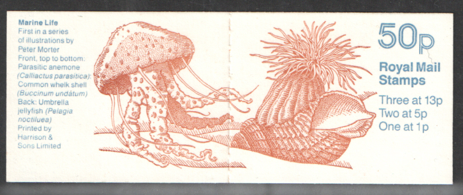 FB50 / DB14(9) Cyl B1 B43 B32 (B68) Marine Life No.1 50p Folded Booklet