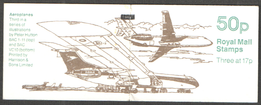 FB57 / DB14(16)/1 + BMB Phosphor Omitted Aeroplanes No.3 50p Folded Booklet. Guillotined perfs at left.
