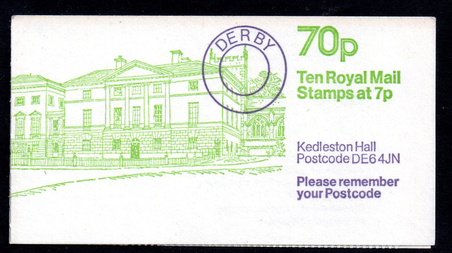 FD7A / DB7(8) Cyl 11 dot (P27 + 14mm) Perf E1 70p Kedleston Hall Left Margin Folded Booklet. Trimmed at top.