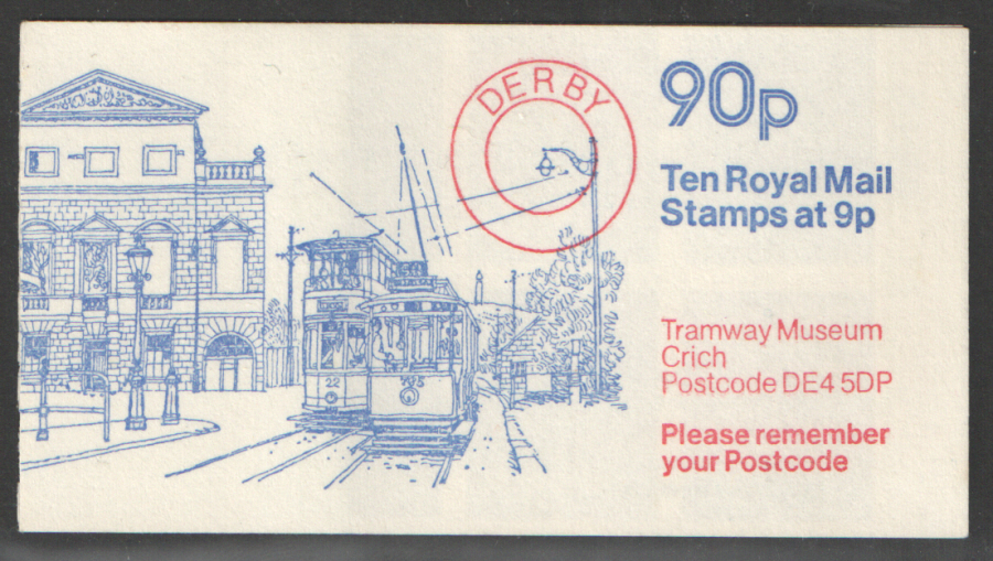 FG7A / DB8(8) Cyl 25 (28 + 25mm) no dot Perf E1 90p Tramway Museum Left Margin Folded Booklet