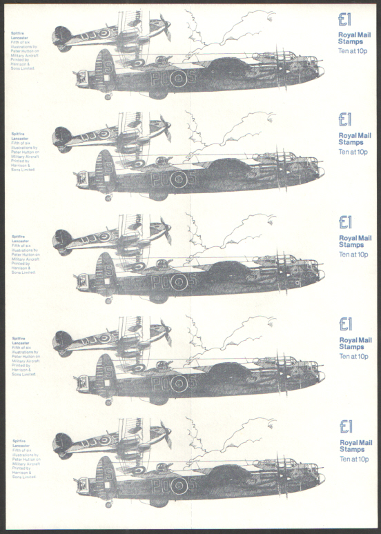 FI1 / DB7(14) Spitfire & Lancaster - Military Aircraft No.5 Folded Booklet Proof Block of Covers with different face value.