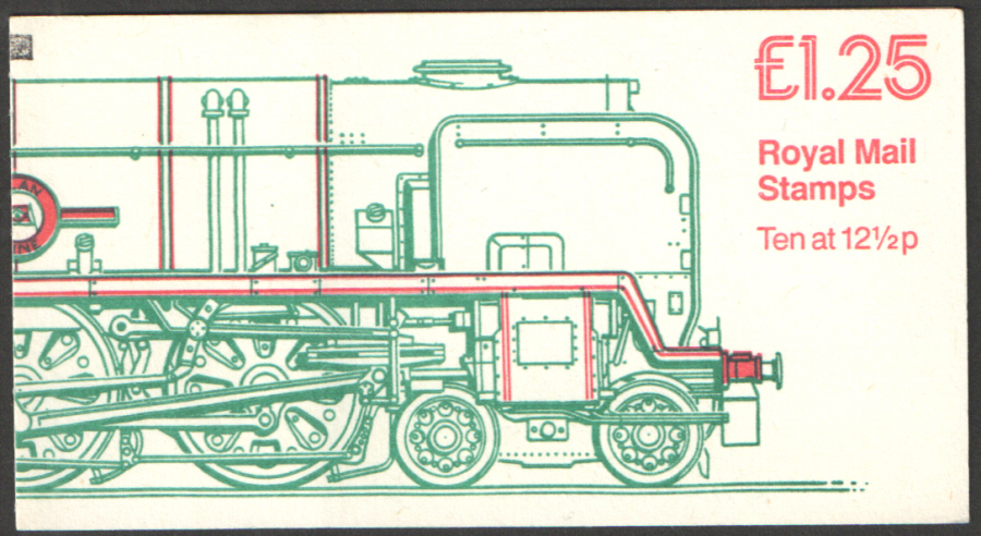 FK8B / DB7(25)A + BMB Perf E1 £1.25 Railway Engines No.4 Right Margin Folded Booklet. Slight trimming at top & bottom.