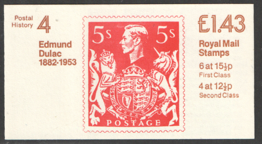 FN2A / DB11(4) Perf E1 £1.43 Postal History No.4 Left Margin Folded Booklet