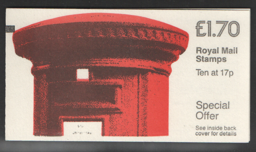 FT5Aa / DB8(29)B + BMB Corrected Rate £1.70 Pillar Box Left Margin Folded Booklet. Trimmed perfs at base.