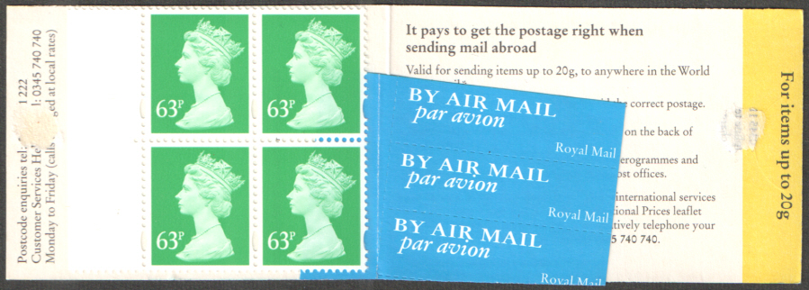 GR3 / DB18(28) Mis-severed airmail labels 9mm Phos £2.52 Barcode Booklet