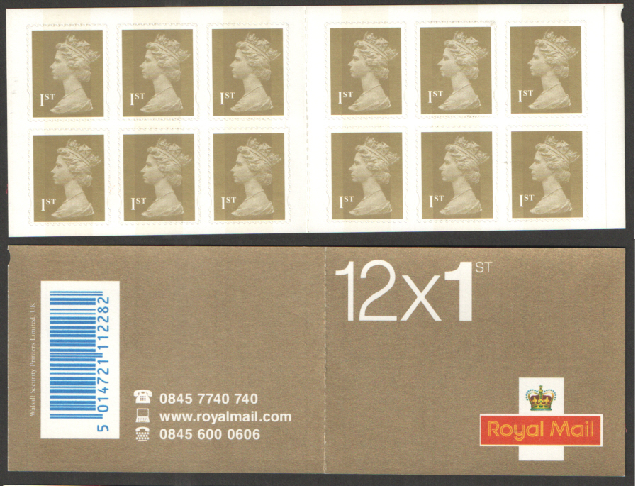 Forgery of 12 x 1st Class Gold Walsall Self Adhesive Booklet