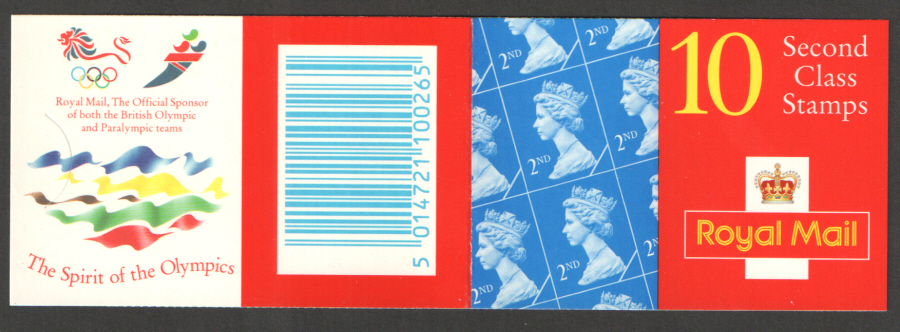 HC16 / DB19(31) Blind Perfs Olympic Logos Questa 10 x 2nd Class Barcode Booklet