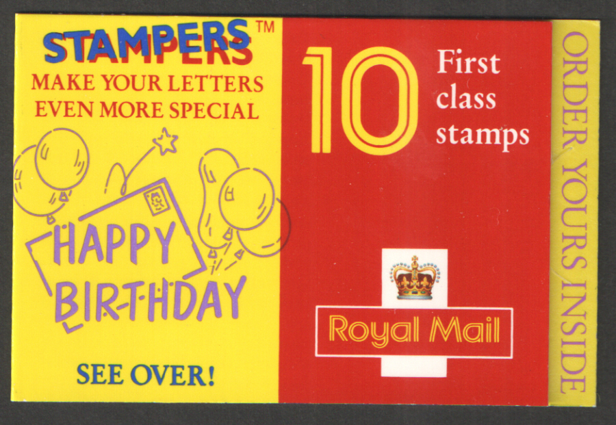 "HD18 / DB20(31) ""Happy Birthday"" Cream Gum 10 x 1st Class Barcode Booklet"