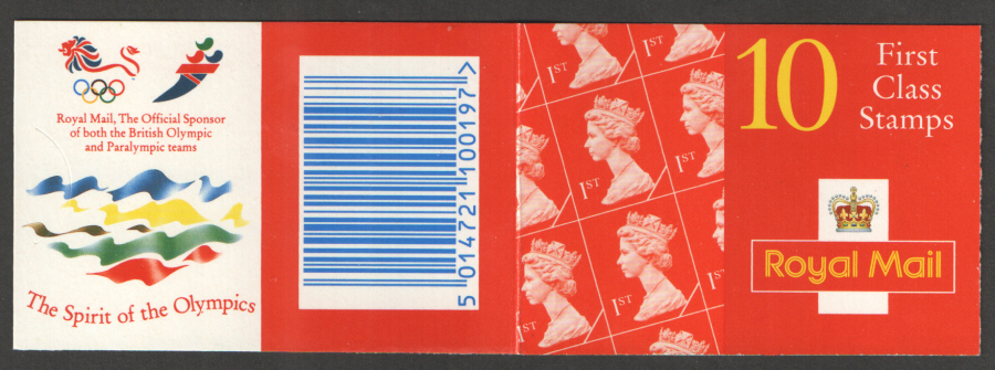 HD30 / DB17(27) Cyl B11 (B99 Row 1) Olympic Logos Harrison 10 x 1st Class Barcode Booklet