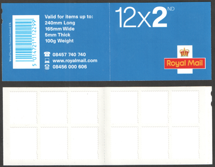 ME4b / SB2(9) (Var.) Dummy / Blank Label Walsall 12 x 2nd Class Booklet