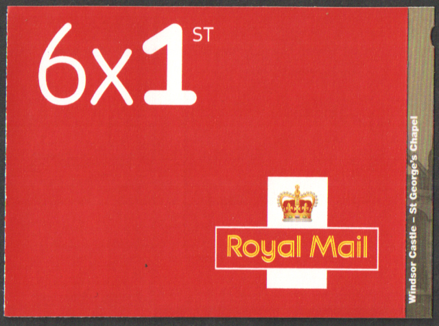 PM55 / SB3(55) Cyl W1 2017 Windsor Castle 6 x 1st Class Booklet