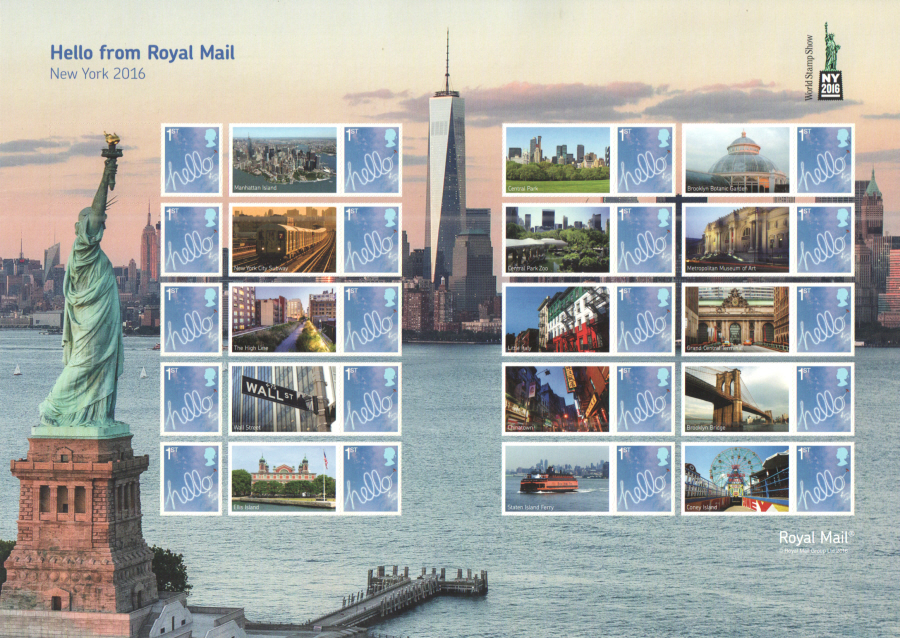 LS100 2016 New York World Stamp Show Royal Mail Generic Smilers Sheet