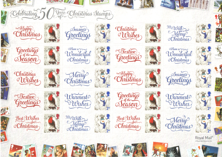 LS103 2016 50 Years of Christmas Stamps Royal Mail Generic Smilers Sheet