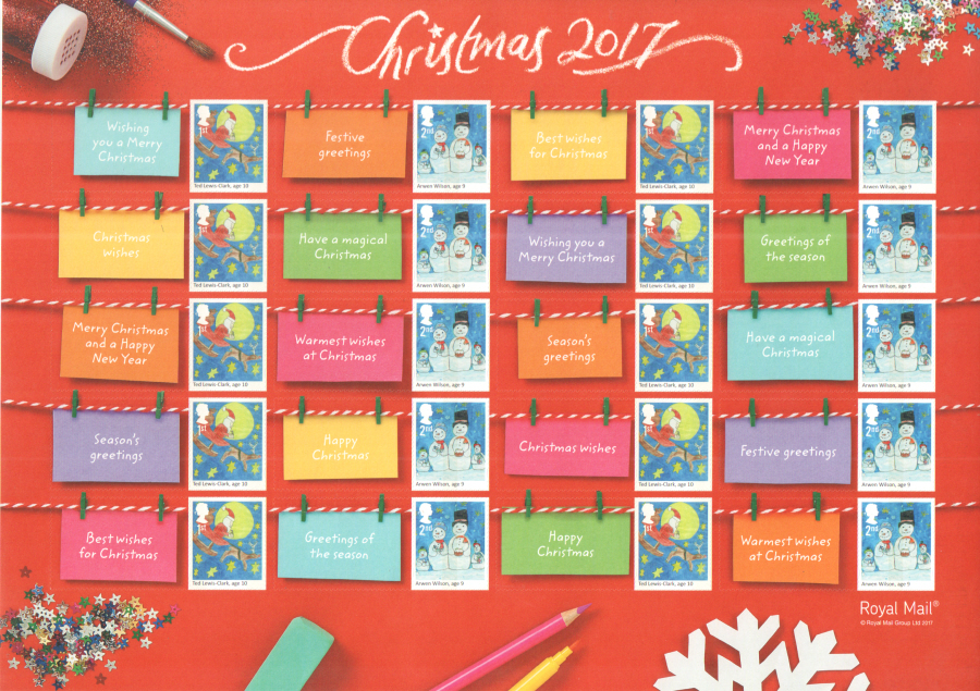 LS107 2017 Children's Christmas Royal Mail Generic Smilers Sheet