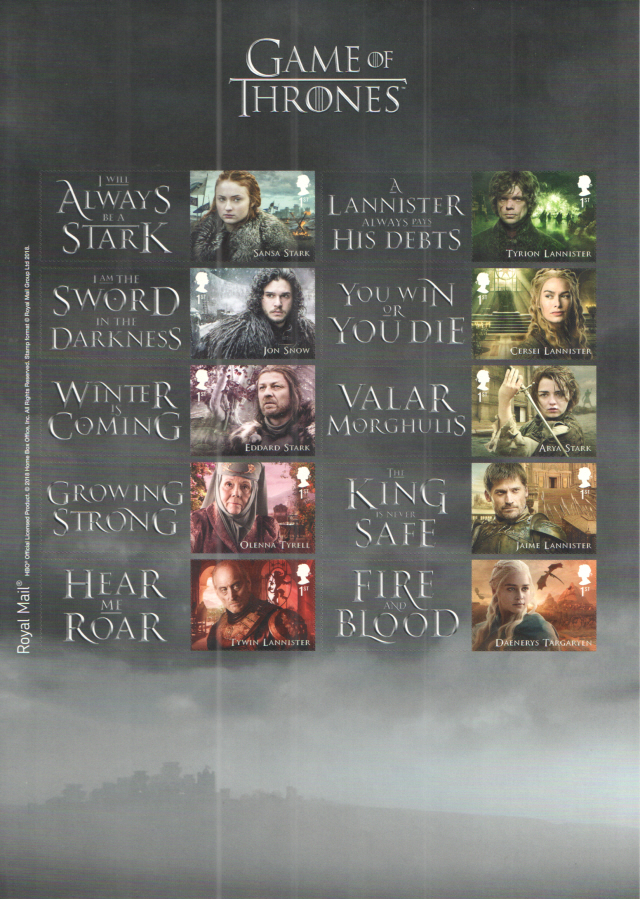 LS109 2018 Game of Thrones Royal Mail Generic Smilers Sheet