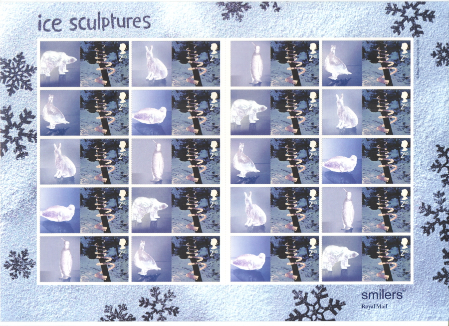 LS15 2003 2nd Class Ice Sculptures Royal Mail Smilers Sheet