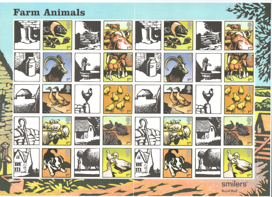 LS22 2005 Farm Animals Royal Mail Generic Smilers Sheet