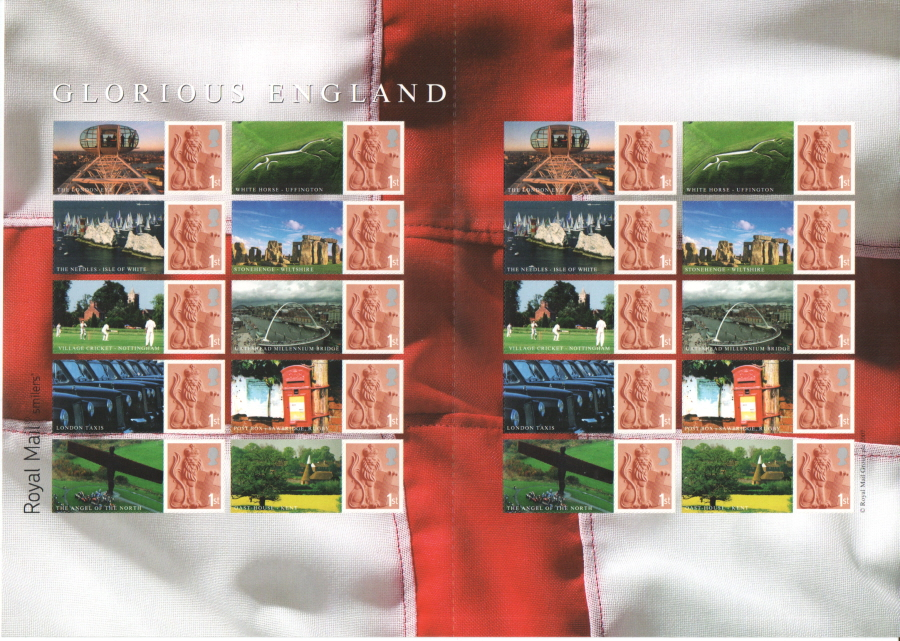 "LS38a 2007 Isle of White spelling error ""Glorious England"" Royal Mail Generic Smilers Sheet"