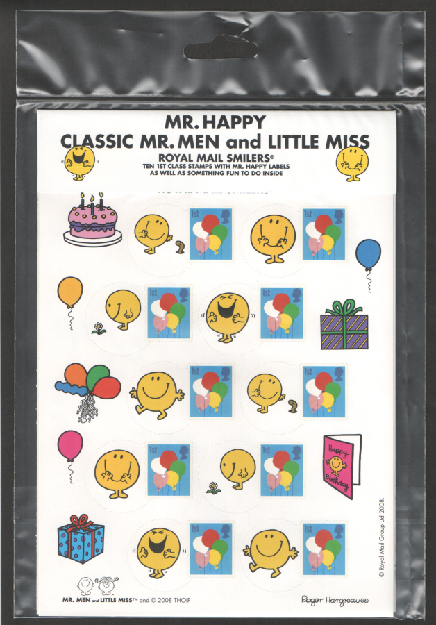 Ls6 2001 greetings cartoons royal mail generic smilers sheet ls52 variant 2008 classic mr men little miss mr happy smilers for m4hsunfo
