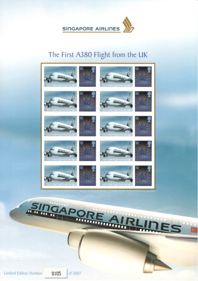 BC-136 2008 Singapore Airlines The First A380 Flight from the UK Business Smilers Sheet