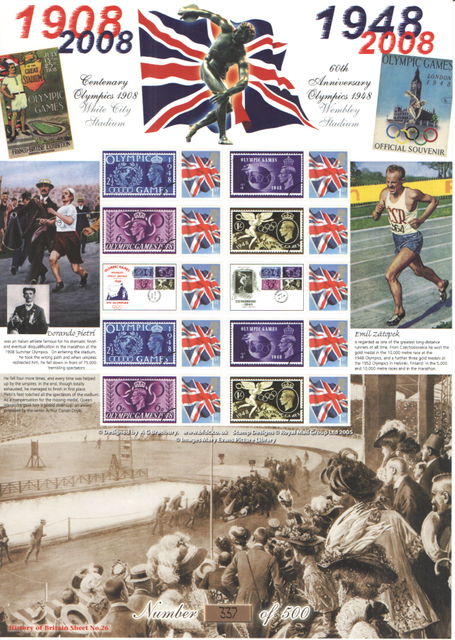 BC-161 2008 Olympic Games History of Britain 26 Business Smilers Sheet