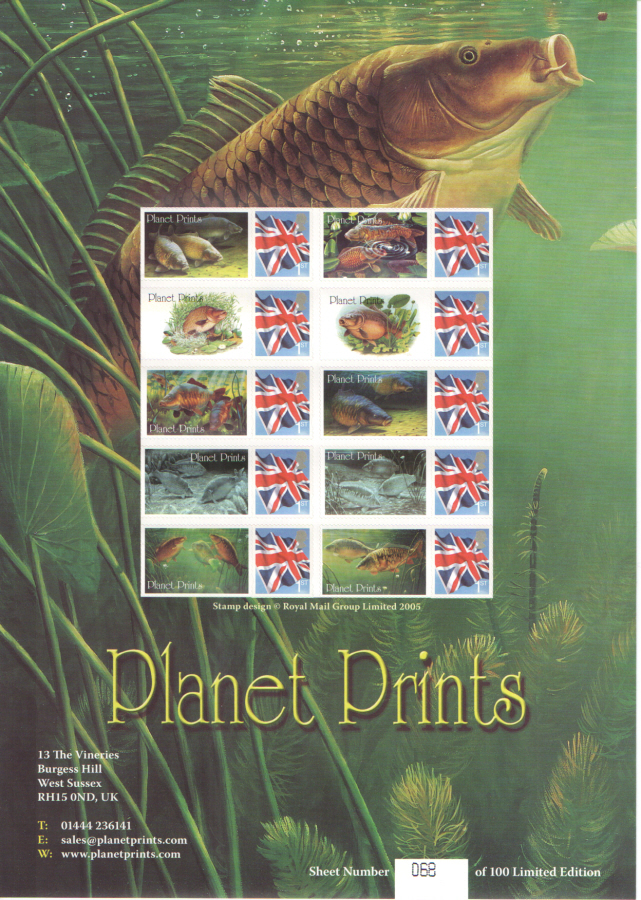 BC-164 2008 Planet Prints Freshwater Fish Business Smilers Sheet