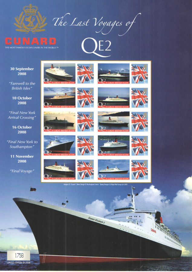 BC-171 2008 Cunard QE2 The Last Voyages Business Smilers Sheet