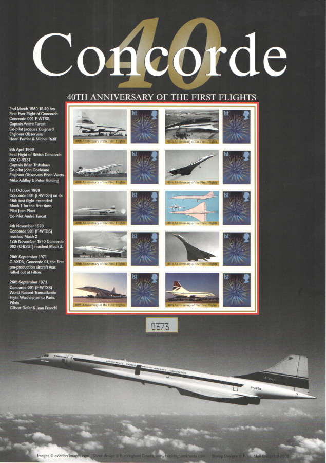 BC-194 2009 Concorde 40th Anniversary Business Smilers Sheet