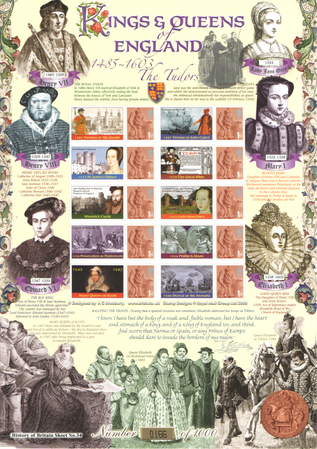 BC-202 2009 The Tudors History of Britain 34 Business Smilers Sheet