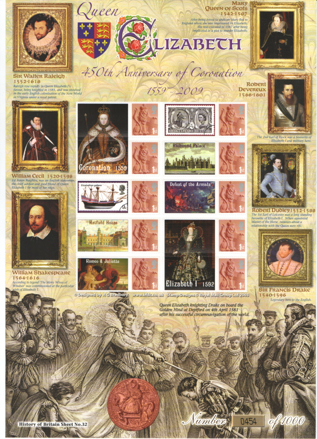 BC-203 2009 Queen Elizabeth I Coronation History of Britain 32 Business Smilers Sheet