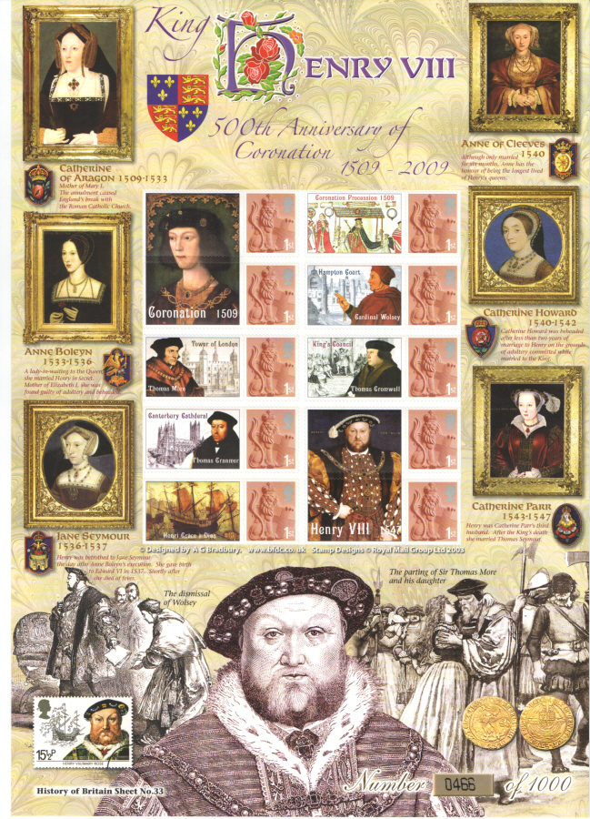 BC-204 2009 Henry VIII History of Britain 33 Business Smilers Sheet