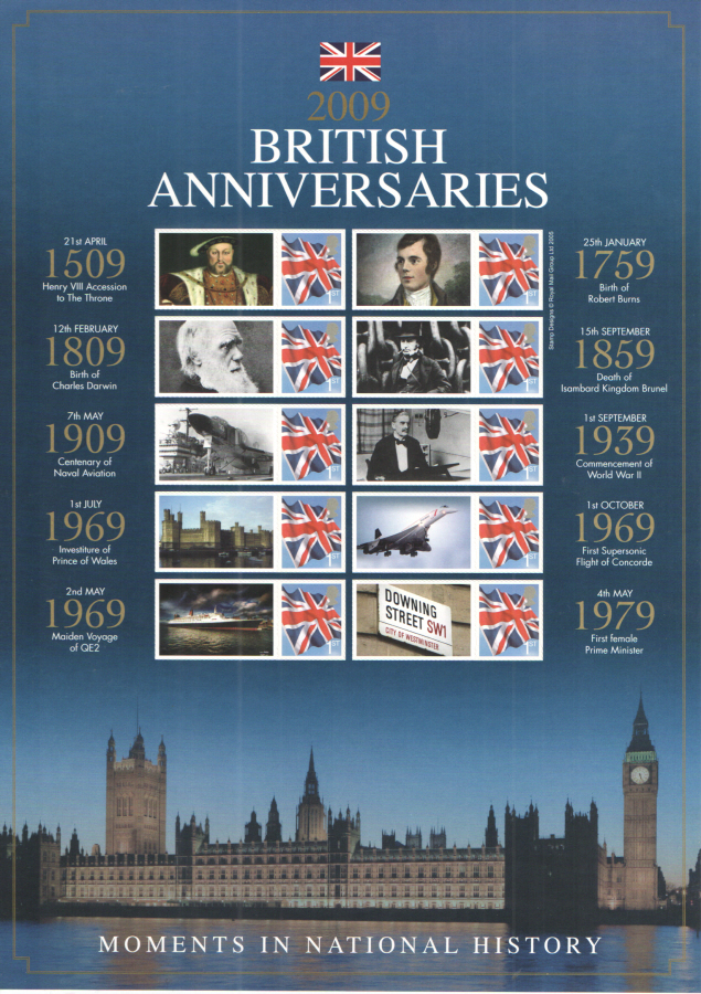 BC-221 2009 British Anniversaries Business Smilers Sheet